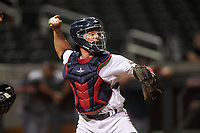 Salt River Rafters catcher Ben Rortvedt (3), of the Minnesota Twins organization, throws to first base during an Arizona Fall League game against the Mesa Solar Sox on September 27, 2019 at Salt River Fields at Talking Stick in Scottsdale, Arizona. Salt River defeated Mesa 6-1. (Zachary Lucy/Four Seam Images)