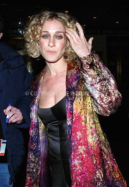 "Actress SARAH JESSICA PARKER attending the play opening of ""The Crucible"" starring Liam Neeson and Laura Linney at the Virginia Theatre on Broadway in New York. March 7, 2002. © 2002 by Alecsey Boldeskul/NY Photo Press.   ..*PAY-PER-USE*      ....NY Photo Press:  ..phone (646) 267-6913;   ..e-mail: info@nyphotopress.com"