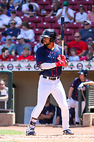 Cedar Rapids Kernels outfielder Jared Akins (30) at bat during a Midwest League game against the Peoria Chiefs on May 26, 2019 at Perfect Game Field in Cedar Rapids, Iowa. Cedar Rapids defeated Peoria 14-1. (Brad Krause/Four Seam Images)