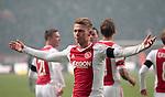 Nederland, Amsterdam, 20 januari 2013.Eredivisie.Seizoen 2012-2013.Ajax-Feyenoord.Viktor Fischer van Ajax juicht nadat hij de 2-0 heeft gescoord.