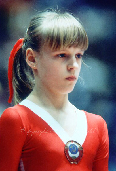 May 15, 1983; Los Angeles, California, USA; Portrait is of artistic gymnast Olga Mostepanova of Soviet Union taken at USA vs USSR dual meet at Los Angeles..Copyright 1983 Tom Theobald.