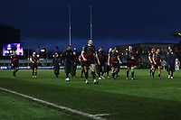 The Dragons team after the final whistle of the European Challenge Cup match between Dragons and Bordeaux Begles at Rodney Parade, Newport, Wales, UK. 20 January 2018