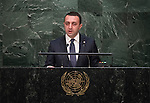 His Excellency Irakli Garibashvili, Prime Minister of Georgia<br /> <br /> 6th plenary meeting High-level plenary meeting of the General Assembly (3rd meeting)