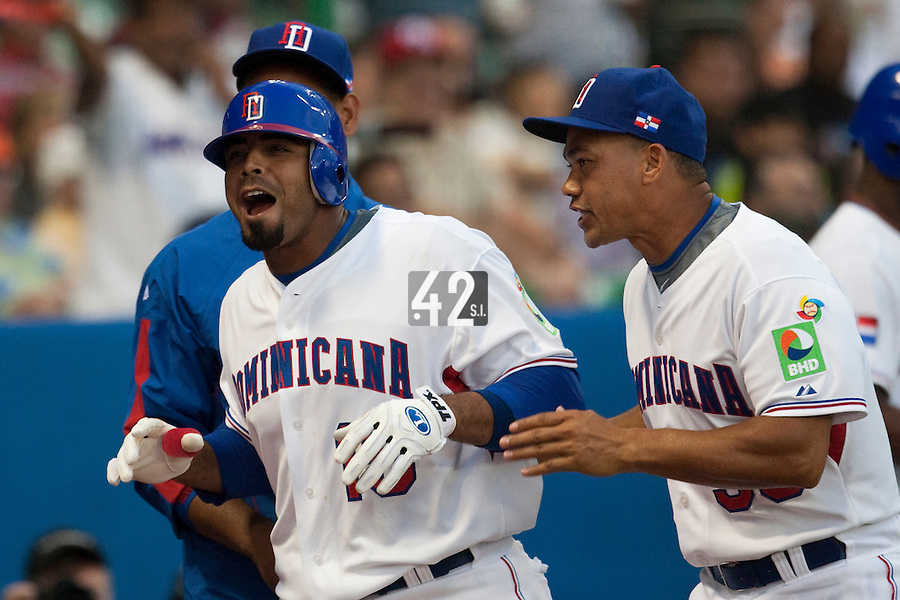 8 March 2009: #15 Nelson Cruz of Dominican Republic reacts as he hits an homerun during the 2009 World Baseball Classic Pool D match at Hiram Bithorn Stadium in San Juan, Puerto Rico. Dominican Republic wins 9-0 over Panama.