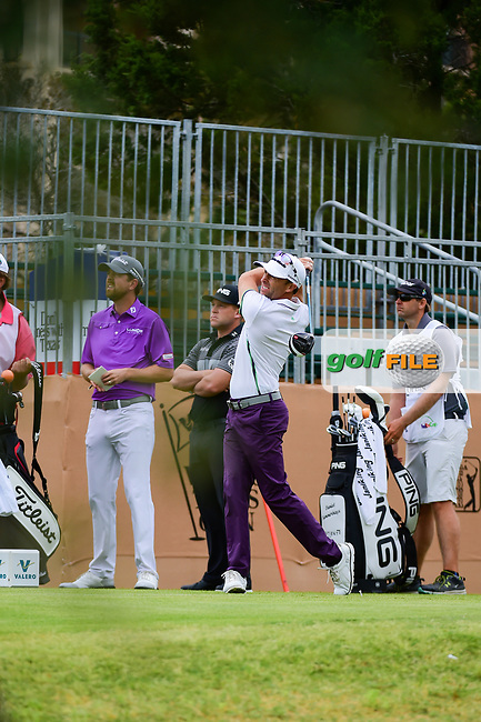 Tim Wilkinson (NZL) watches his tee shot on 10 during round 2 of the Valero Texas Open, AT&amp;T Oaks Course, TPC San Antonio, San Antonio, Texas, USA. 4/21/2017.<br /> Picture: Golffile | Ken Murray<br /> <br /> <br /> All photo usage must carry mandatory copyright credit (&copy; Golffile | Ken Murray)