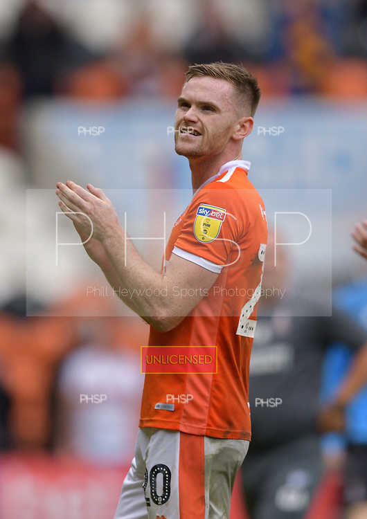 08/09/2018 Sky Bet League 1 Blackpool v Bradford City<br /> <br /> Ollie Turton celebrates after the final whistle