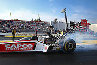 Feb 9, 2014; Pomona, CA, USA; NHRA top fuel dragster driver Steve Torrence during the Winternationals at Auto Club Raceway at Pomona. Mandatory Credit: Mark J. Rebilas-