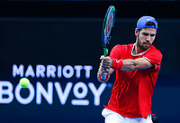 5th January 2020; RAC Arena, Perth, Western Australia; ATP Cup Australia, Perth, Day 3; Russia versus USA; Karen Khachanov of Russia plays a forehand shot against Taylor Fritz of the USA - Editorial Use