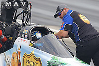May 10, 2013; Commerce, GA, USA: NHRA crew member for top fuel dragster driver Brandon Bernstein during qualifying for the Southern Nationals at Atlanta Dragway. Mandatory Credit: Mark J. Rebilas-