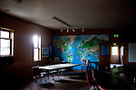 Inside of a meeting room in Chugwater Valley Church is a map of where members live all over the world to do outreach. Chugwater, Wyoming's population is just under 300 people.