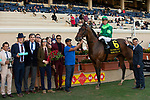 December 1 2018: #6 Raging Bull, ridden by Joel Rosario, in the winners circle after winning the Hollywood Derby (Grade 1) on December 1, 2018, at Del Mar Thoroughbred Club in Del Mar, CA.
