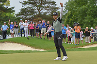 Sung Hyun Park (KOR) sinks her birdie putt on the second playoff hole at 16 to win the 2018 KPMG Women's PGA Championship, Kemper Lakes Golf Club, at Kildeer, Illinois, USA. 7/1/2018.<br /> Picture: Golffile | Ken Murray<br /> <br /> All photo usage must carry mandatory copyright credit (&copy; Golffile | Ken Murray)