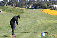 Patrick Rodgers (USA) tees off the 8th tee during Sunday's Final Round of the 2018 AT&amp;T Pebble Beach Pro-Am, held on Pebble Beach Golf Course, Monterey,  California, USA. 11th February 2018.<br /> Picture: Eoin Clarke | Golffile<br /> <br /> <br /> All photos usage must carry mandatory copyright credit (&copy; Golffile | Eoin Clarke)