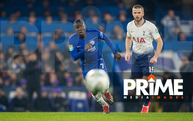 Ngolo KANTE of Chelsea during the Carabao Cup Semi-Final 2nd leg match between Chelsea and Tottenham Hotspur at Stamford Bridge, London, England on 24 January 2019. Photo by Andy Rowland.