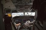 Pilots in cockpit Qatar Airways plane, Bandaranayake International Airport, Colombo, Sri Lanka, Asia