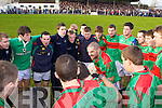 Captain of Beal, Paul Collins speaks with his players before playing Finuge in the Bernard O'Callaghan Memorial Senior Football Championship Final last Sunday in Ballylongford.