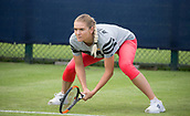 June 11th 2017, Nottingham, England;WTA Aegon Nottingham Open Tennis Tournament day 2;  Tereza Martincova of The Czec Republic warming cup before her match on the second day of qualifying
