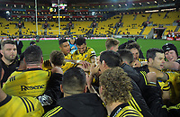 The Hurricanes huddle after the Super Rugby match between the Hurricanes and Chiefs at Westpac Stadium in Wellington, New Zealand on Friday, 27 April 2019. Photo: Dave Lintott / lintottphoto.co.nz