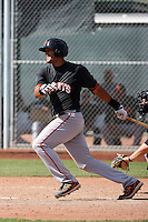 Chris Dominguez #8 of the San Francisco Giants plays in a minor league spring training game against the Colorado Rockies at the Giants minor league complex on March 30, 2011  in Scottsdale, Arizona. .Photo by:  Bill Mitchell/Four Seam Images.