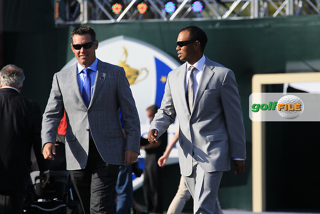 Lee Westwood (ENG) and Tiger Woods (USA) at the Opening Ceremony during Thursday's Practice Day of the 39th Ryder Cup at Medinah Country Club, Chicago, Illinois 27th September 2012 (Photo Eoin Clarke/www.golffile.ie)