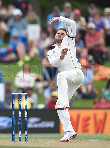 22.02.2016. Christchurch, New Zealand.  Brendon McCullum bowling on Day 3 of the 2nd test match. New Zealand Black Caps v Australia. Hagley Oval in Christchurch, New Zealand. Monday 22 February 2016.