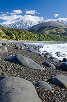 Rocky beach at Mangamaunu, near Kaikoura, South Island, New Zealand