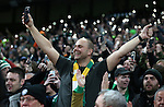 Celtic fans hold a tribute to the Lisbon Lions in the 67th minute by holding up lights on their phones during the Champions League Group C match at the Etihad Stadium, Manchester. Picture date: December 6th, 2016. Pic Simon Bellis/Sportimage