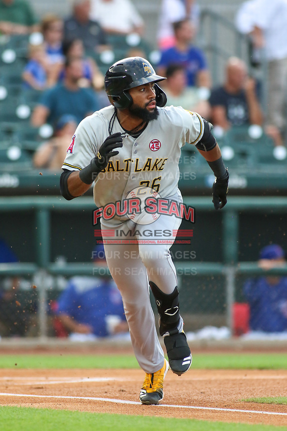 Salt Lake Bees Jo Adell (26) runs to first base during a Pacific Coast League game against the Iowa Cubs on August 10, 2019 at Principal Park in Des Moines, Iowa.  Iowa defeated Salt Lake 7-3.  (Travis Berg/Four Seam Images)