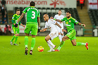 Andre Ayew of Swansea ( with ball ) in action during the Barclays Premier League match between Swansea City and Sunderland played at the Liberty Stadium, Swansea  on  January the 13th 2016