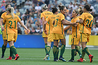 26 November 2017, Melbourne - KYAH SIMON (17) of Australia celebrates her goal during an international friendly match between the Australian Matildas and China PR at GMHBA Stadium in Geelong, Australia.. Australia won 5-1. Photo Sydney Low