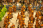 Imperatriz Leopolinense Samba School, Carnival, Rio de Janeiro, Brazil, 26th February 2017. Samba school dancers in the destruction of the forest section with chainsaws and logs.