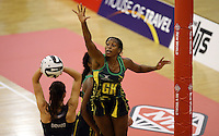 14.09.2016 Silver Ferns Ameliaranne Ekenasios and Jamacia's Stacian Facey in action during the Taini Jamison netball match between the Silver Ferns and Jamaica played at Arena Manawatu in Palmerston North. Mandatory Photo Credit ©Michael Bradley.