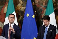 Roma, 17 Gennaio 2019<br /> Luigi di Maio, Giuseppe Conte.<br /> Conferenza stampa al termine del Consiglio dei Ministri che ha approvato il decreto legge su Reddito di cittadinanza e pensioni