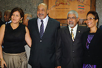 Left to right : Mrs. Ingrid Bouterse-Waldring wife of Desi Bouterse (Desiré Delano Bouterse) , The President of Suriname Desi Bouterse (Desiré Delano Bouterse), The Vice President of Suriname Robert Ameerali  and his wife poses during their first press conference after victory of presidential election.....Desi Bouterse (Desiré Delano Bouterse) chosen as new president of Suriname by De Nationale Assemblée (DNA) / The National Assemble of Suriname. He took 36 votes of 51 as leader of the Mega Combination. ....Robert_Ameerali the head of KKF (Kamer van Koophandel en Fabrieken) / Chamber of Commerce and Industry also selected as Vice President.....Desi Bouterse (Desiré Delano Bouterse) will sworn at 3 August 2010