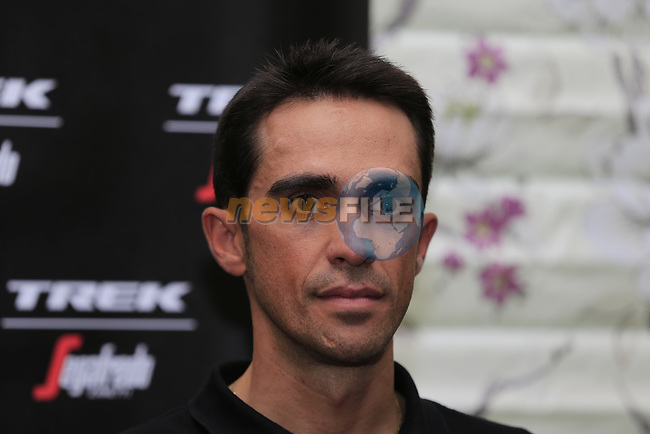 Alberto Contador (ESP) Trek-Segafredo press conference in Dusseldorf before the 104th edition of the Tour de France 2017, Dusseldorf, Germany. 30th June 2017.<br /> Picture: Eoin Clarke   Cyclefile<br /> <br /> <br /> All photos usage must carry mandatory copyright credit (&copy; Cyclefile   Eoin Clarke)