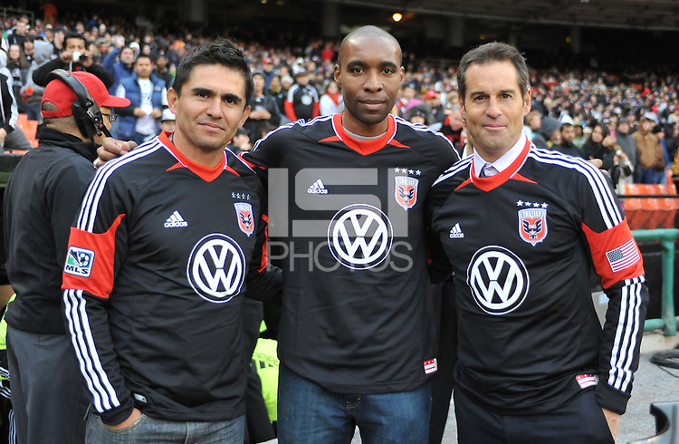 D.C. United former players from left to right Jaime Moreno, Eddie Pope and John harkes. D.C. United tied The Houston Dynamo 1-1 but lost in the overall score 4-2 in the second leg of the Eastern Conference Championship at RFK Stadium, Sunday November 18, 2012.