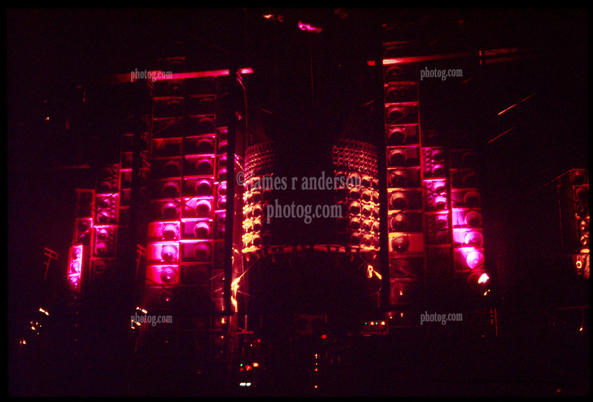 The Wall of Sound PA System between Sets. The Grateful Dead perform live at the Springfield Civic Center on 30 June 1974. Shot during the set break. Lighting by Candace Brightman.
