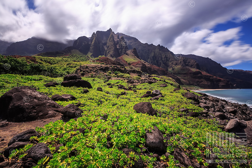 A long exposure image of the Kalalau Valley and Beach presents the seemingly mysterious nature of Kalalau, Na Pali Coast, Kaua'i.