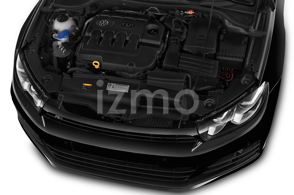 Car stock 2017 Volkswagen Scirocco R Line 5 Door Hatchback engine high angle detail view
