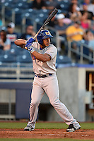 Midland RockHounds third baseman Jefry Marte (34) at bat during a game against the Tulsa Drillers on May 31, 2014 at ONEOK Field in Tulsa, Oklahoma.  Tulsa defeated Midland 5-3.  (Mike Janes/Four Seam Images)