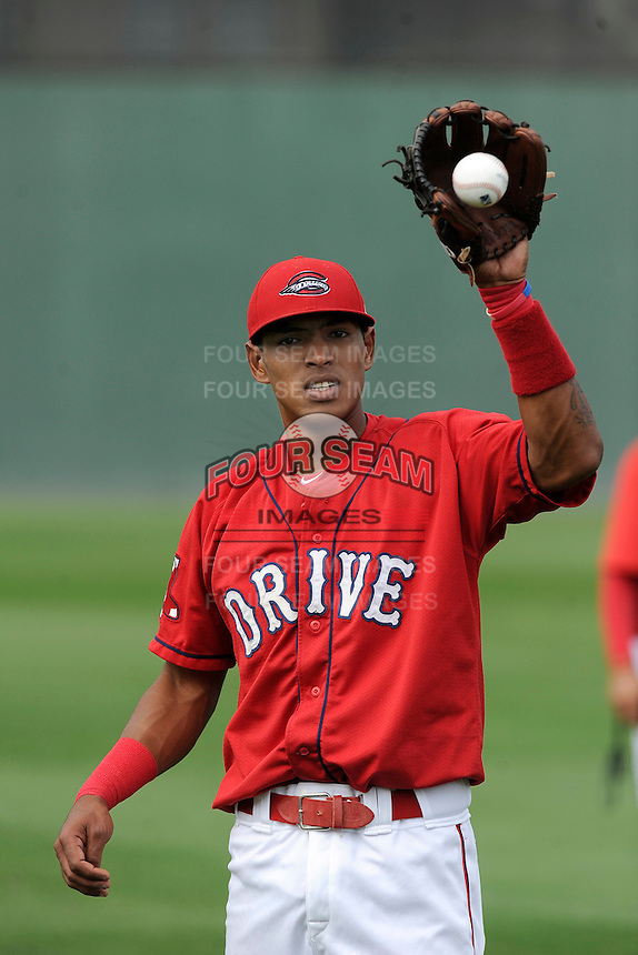 Infielder Deiner Lopez (5) of the Greenville Drive during a Media Day first workout of the season on Tuesday, April 7, 2015, at Fluor Field at the West End in Greenville, South Carolina. (Tom Priddy/Four Seam Images)