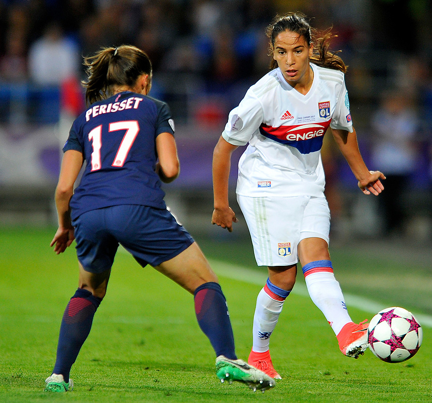 Olympique Lyonnais' Amel Majri in action <br /> <br /> Photographer Ashley Crowden/CameraSport<br /> <br /> UEFA Women's Champions League Final - Lyon Women v Paris Saint-Germain Women - Thursday 1st June 2017 - Cardiff City Stadium<br />  <br /> World Copyright &copy; 2017 CameraSport. All rights reserved. 43 Linden Ave. Countesthorpe. Leicester. England. LE8 5PG - Tel: +44 (0) 116 277 4147 - admin@camerasport.com - www.camerasport.com