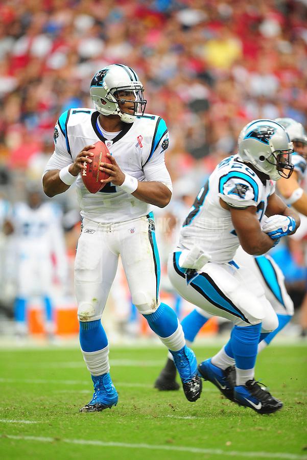 Sept. 11, 2011; Glendale, AZ, USA; Carolina Panthers quarterback (1) Cam Newton drops back to pass in the first half against the Arizona Cardinals at University of Phoenix Stadium. Mandatory Credit: Mark J. Rebilas-