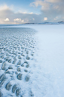 Luskentyre beach with dusting of snow, Isle of Harris, Outer Hebrides, Scotland
