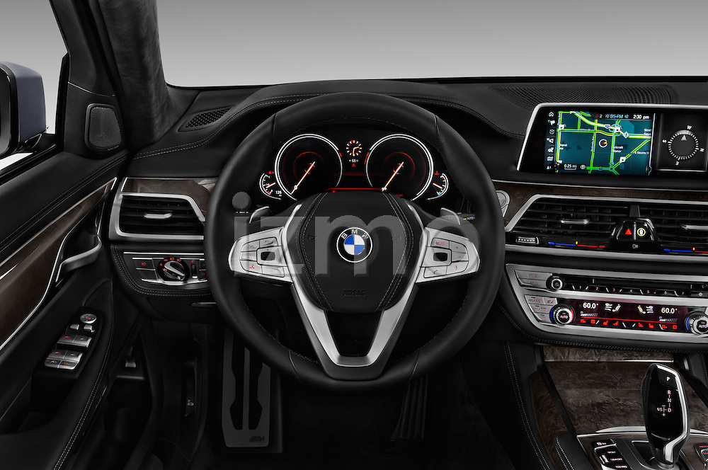 Car pictures of steering wheel view of a 2017 BMW 7 Series 740i 4 Door Sedan Steering Wheel