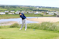 Tiernan McLarnon (Massereene) on the 9th tee during Round 3 of The South of Ireland in Lahinch Golf Club on Monday 28th July 2014.<br /> Picture:  Thos Caffrey / www.golffile.ie