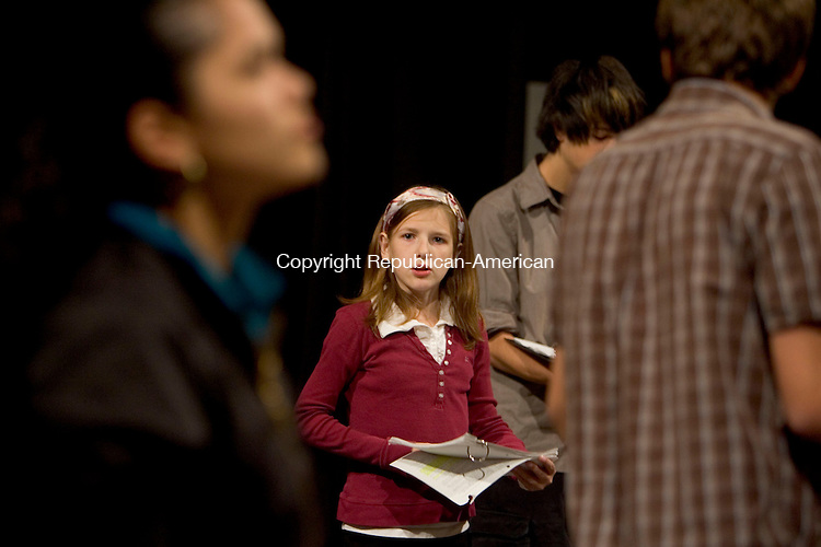 WATERBURY, CT- 02 OCTOBER 2008 --100208JS04--Taylor Brophy, a sophomore at Waterbury Arts Magnet School, rehearse for he play The Crucible at the school on Thursday. Brophy, 15, has cystic fibrosis and recently wento the the Emmy's courtesy of the Make a Wish Foundation.<br /> Jim Shannon / Republican-American