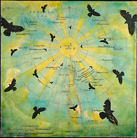 Mixed Media encaustic painting over antique map  of South Pole with birds