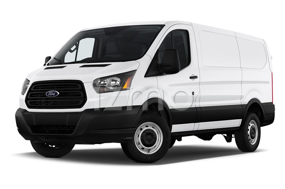 Stock pictures of low aggressive front three quarter view of a 2019 Ford Transit Van 250 LR 4 Door Cargo Van