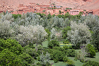Dades Gorge, Morocco.  Village Houses and Farmers' Fields.